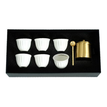Mugs - Set of 6 Chaffe with Brass Tray - ZARINA