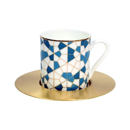 Mugs - Set of 6 Espresso with Brass Saucer - ZARINA