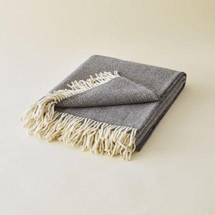 Throw blankets - PLAID EN LAINE DES PYRÉNÉES GRIS - PLAIDS COCOONING