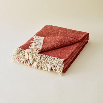 Throw blankets - PLAID EN LAINE DES PYRÉNÉES BRIQUE - PLAIDS COCOONING