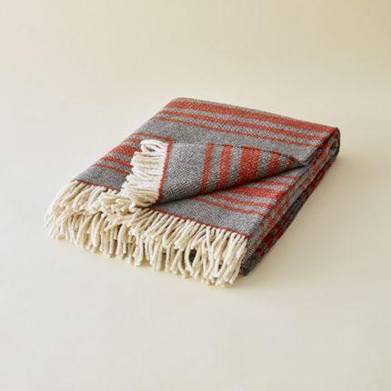 Throw blankets - PLAID EN LAINE DES PYRÉNÉES RAYÉ GRIS - PLAIDS COCOONING