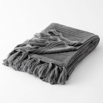 Throw blankets - PLAID PIERRE GRIS ANTHRACITE - PLAIDS COCOONING