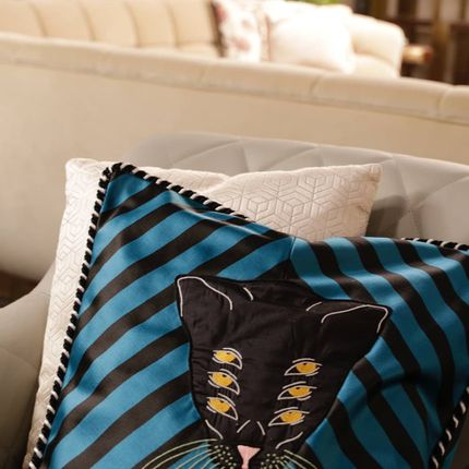 Cushions - BLUE CAT CUSHION - RUG'SOCIETY