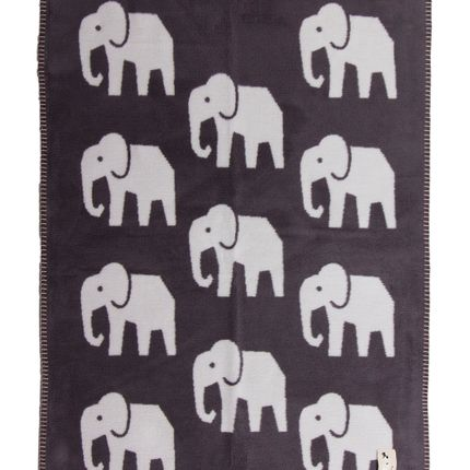 Throw blankets - Super soft blanket for baby and kids with Elephants - dark grey - FABGOOSE