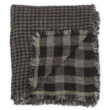 Throw blankets - Washed linen plaid - BEATRICE LAVAL LE MONDE SAUVAGE