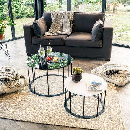 Coffee tables - Side table TAMBOUR steel & glass - GLASSVARIATIONS