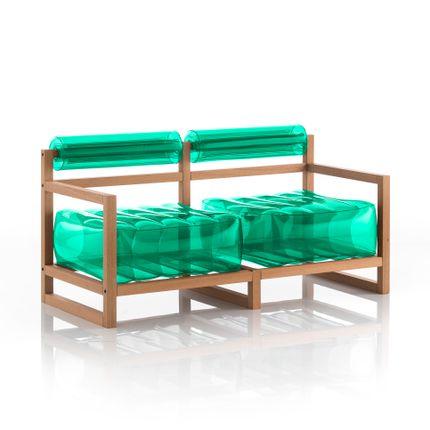 canapés - YOKO canapé cadre bois vert cristal - MOJOW