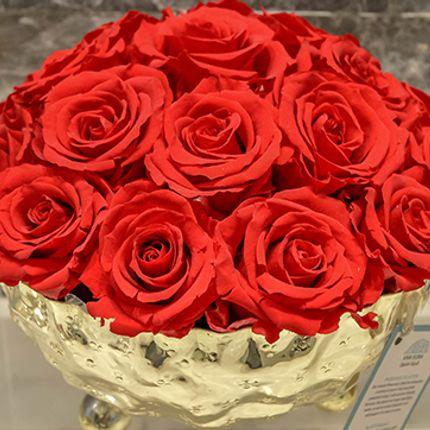 Floral decoration - Classic Red Preserved Arrangement in Gold Vase - VIVA FLORA