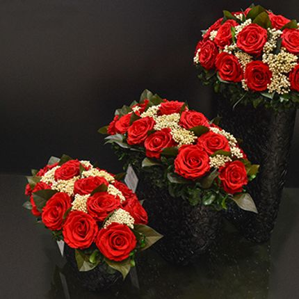 Décoration florale - Resin Black Red Roses (small, medium large) - VIVA FLORA