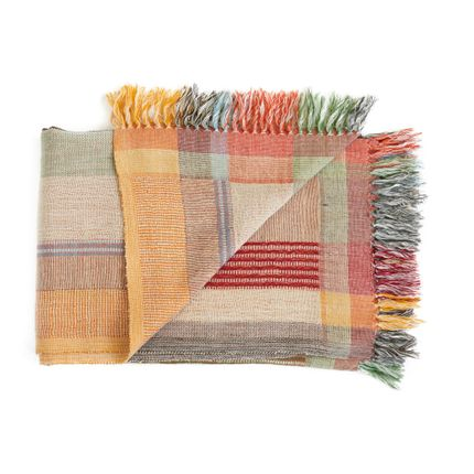 Throw blankets - Red stripe plaid - ML FABRICS