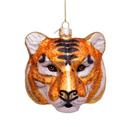 Christmas decoration - Ornament glass gold/black tiger head H11 cm - VONDELS AMSTERDAM