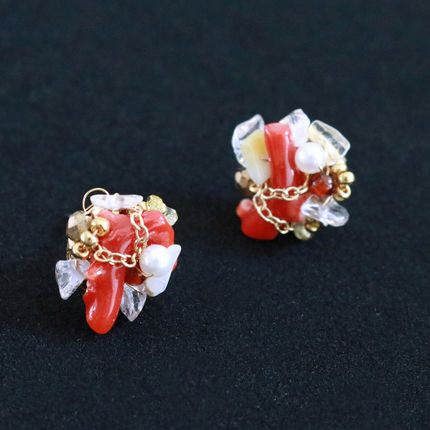 "Jewelry - Red branch coral earring ""Mosaic"" - MATSUYOI"