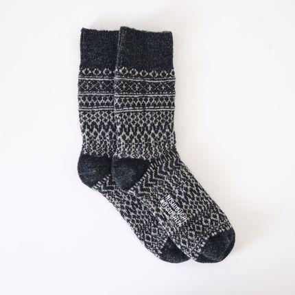 Chaussettes - WOOL JACQUARD SOCKS - NISHIGUCHI KUTSUSHITA