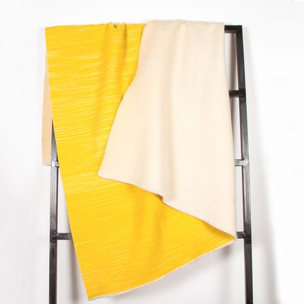 Throw blankets - THE FLIPSIDE | Merino | yellow - PERELIC WOOLEN GOODS