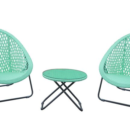 Lawn chairs - Faux Rattan  Folding Lounger Set Cool Mint - TOBS