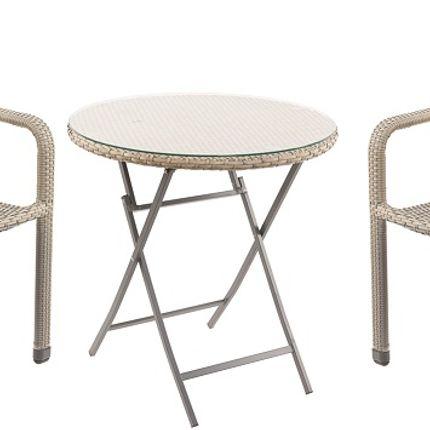 Chaises de jardin - Faux Rattan Grey table & Aluminium Chair Set  - TOBS