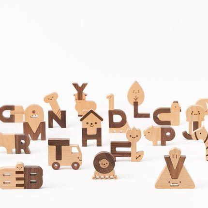 Jouets - Ensemble bloc en bois Alphabet - OIOIOOI