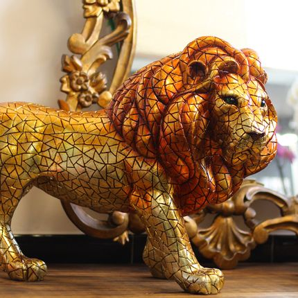 Decorative objects - LION GOLD- 72CM - BARCINO
