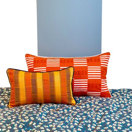 Cushions - Blue and orange cushions woven in Ivory Coast - COUSSIN D'AFRIQUE