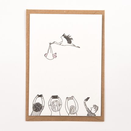 "Stationery / Card shop / Writing - ""Stork with baby"" newborn letterpress card - STUDIO FLASH"