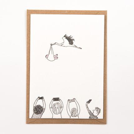 "Papeterie / carterie / écriture - ""Stork with baby"" newborn letterpress card - STUDIO FLASH"