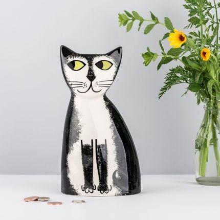 Objets déco - Tirelire en céramique fait main pour chat noir et blanc - HANNAH TURNER