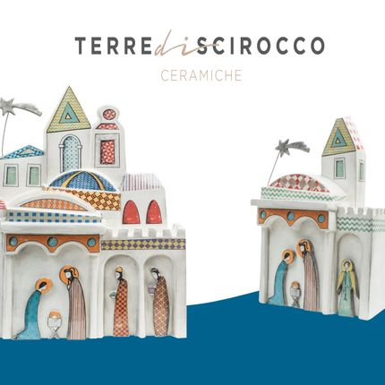 Ceramic - CHRISTMAS STYLE (LINE): DANCING ON THE SLIDER AMONG CLOUDS AND STARS - TERRE DI SCIROCCO