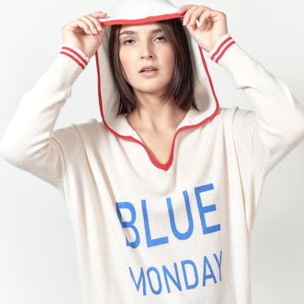 Ready-to-wear - Hoody BLUE MONDAY  - MADLUV CASHMERE GOES POP