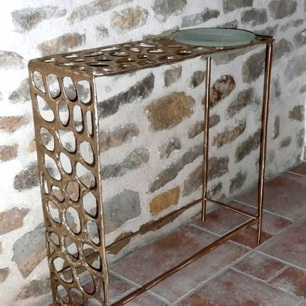 Coffee tables - Orga bronze console + glass cup - NICO TOURNAIRE