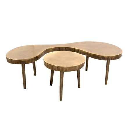 Coffee tables - Set of 2 aluminum antic brass coffee table - ASIATIDES