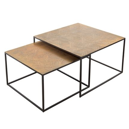 Tables basses - Set de 2 tables basse aluminium et fer - ASIATIDES