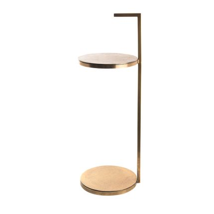 Tables - aluminum and antic brass side table - ASIATIDES