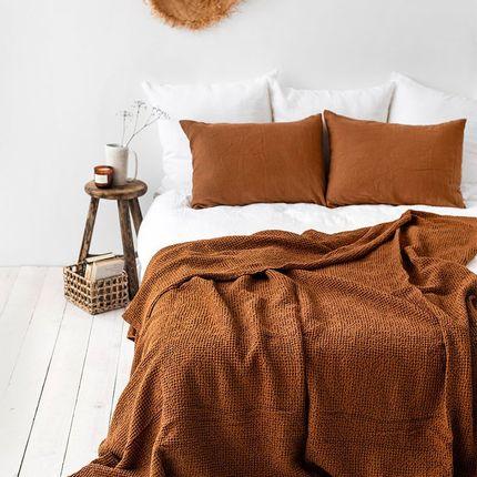 Throw blankets - Waffle linen blanket in Cinnamon - MAGIC LINEN