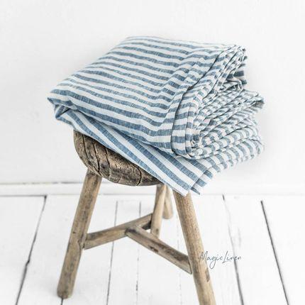 Bed linens - Blue Striped linen flat sheet - MAGIC LINEN