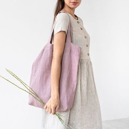 Bags / totes - Linen tote bag in Woodrose - MAGIC LINEN
