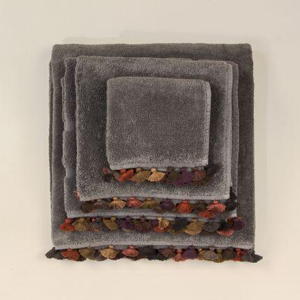 Bath linens - Dark grey towels with pompons - MIA ZIA