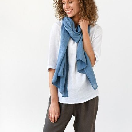 Scarves - Linen scarf in Dusty Blue - MAGIC LINEN