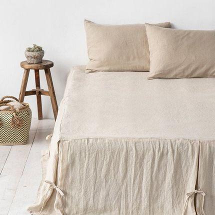 Bed linens - Linen bed skirt with corner ties in various colors - MAGIC LINEN