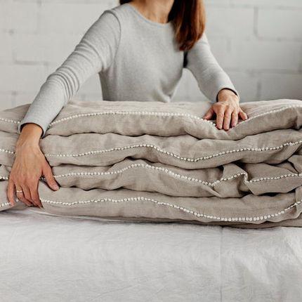 Bed linens - Linen duvet cover with pom pom trim in Natural linen - MAGIC LINEN
