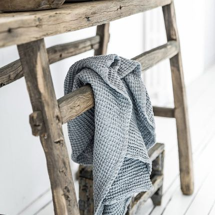 Bath towel - Linen towel set in waffle in Light Gray - MAGIC LINEN