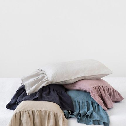 Bed linens - Mermaid ruffle linen pillow case in various colors - MAGIC LINEN