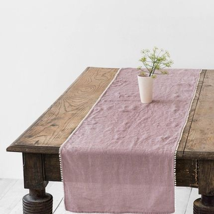 Kitchen linens - Linen table runner with pom pom trim in Woodrose - MAGIC LINEN