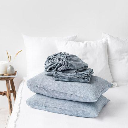 Bed linens - Linen sheet set in Blue Melange - MAGIC LINEN