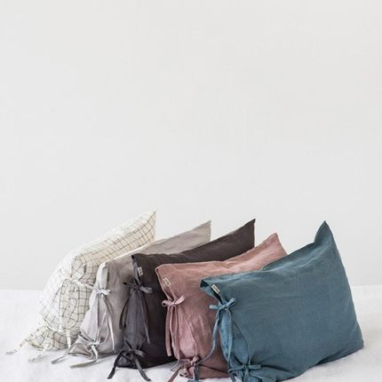 Bed linens - Linen pillowcase with skinny ties in various colors - MAGIC LINEN
