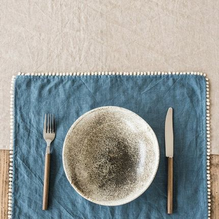 Kitchen linens - Linen placemat set with pom pom trim in various colors - MAGIC LINEN