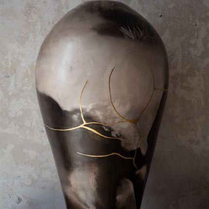 Vases - Grands vases enfumés avec or. Euphrosyne, Aglaia, Achillea. - MARIE-ANNICK LE BLANC CERAMICS