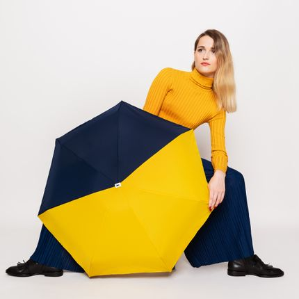 Leather goods - Resistant micro-umbrella - bicolour yellow & navy - Sydney  - ANATOLE