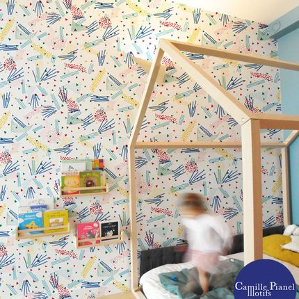 Wallpaper - Custom Confetti Wallpaper & Customizable - CAMILLE PIANEL MOTIFS