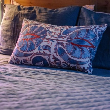 Cushions - Babylon Myrtle Blue Suzani Cushion Double Sided With Ikat - HERITAGE GENEVE