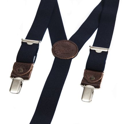 Ready-to-wear - Skinny clip-on braces with leather details – Navy - BERTELLES